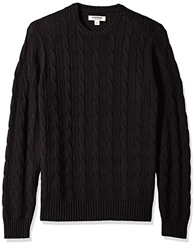 Goodthreads Men's Soft Cotton Cable Stitch Crewneck Sweater, Solid Black, X-Small ()