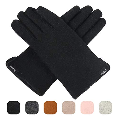 Nylon Gloves Striped (CACUSS Women's Winter Wool Knit Gloves Touchscreen Texting Finger Tips with Warm Fleece Lining (Black))