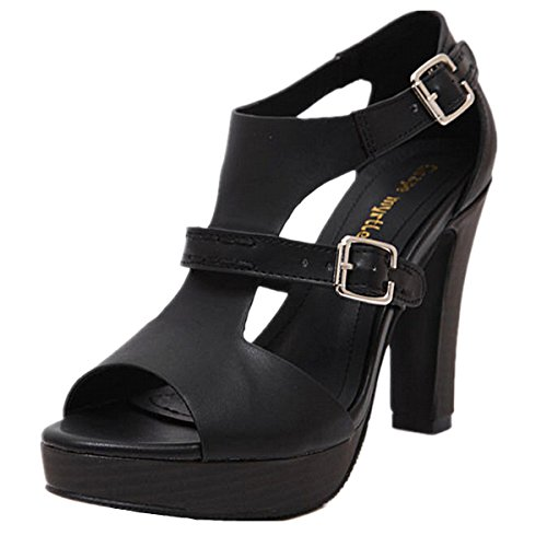 ANBOVER Womens Ankle Strap Fashion High Heeled Sandals Black zwooH
