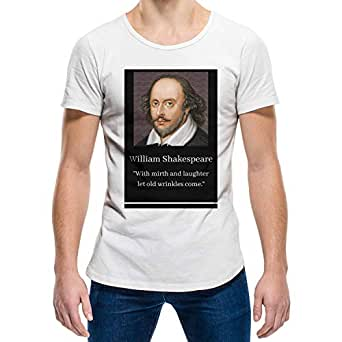William Shakespeare White Round Neck T-Shirt For Unisex