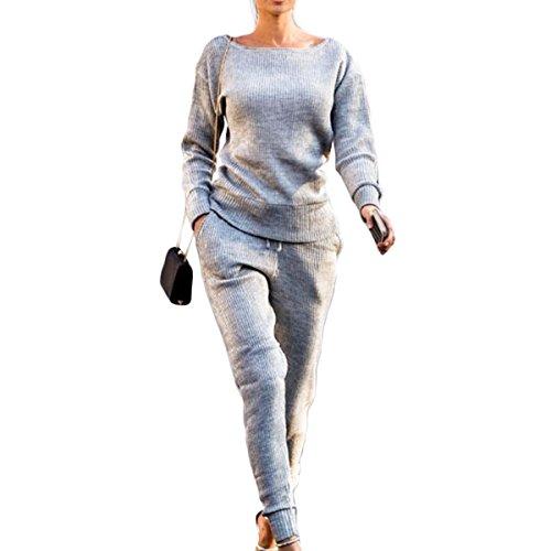 donna donna pantalone maniche pezzi elastico elastico Tuta a Gadfjuotg sportiva da Tuta 2 in Grey lunghe vita con a zxxIqE8w