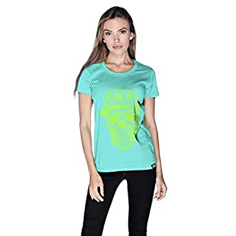 Creo Green Coco Skull T-Shirt For Women - L, Green