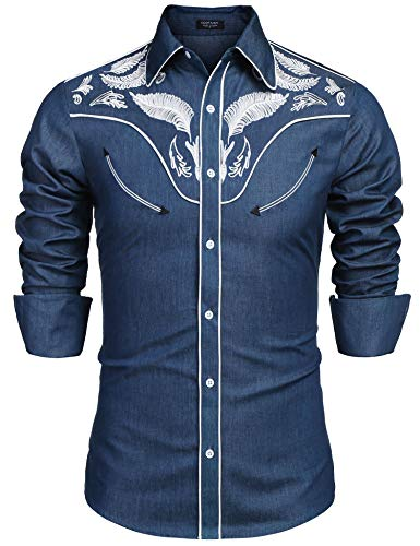 COOFANDY Men's Denim Embroidered Shirt Casual Long Sleeve Button Down Shirts, Blue, XX-Large