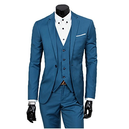 Men's Slim Fit Peak Lapel Suit Blazer Jacket Tux Vest (Dress Suit Blue 3 Piece)