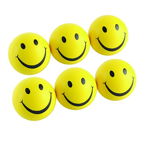 Mini Smile Face Balls Fun for Kids, 6-Pack (Bowling Ball Stress Ball)
