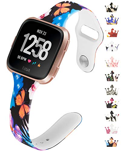 Allbingo Thin Bands Compatible with Fitbit Versa/Versa 2/Lite/SE,Cute Slim Women Feminine Narrow Floral Print Replacement Strap Accessories Silicone Wrist Band Small Large