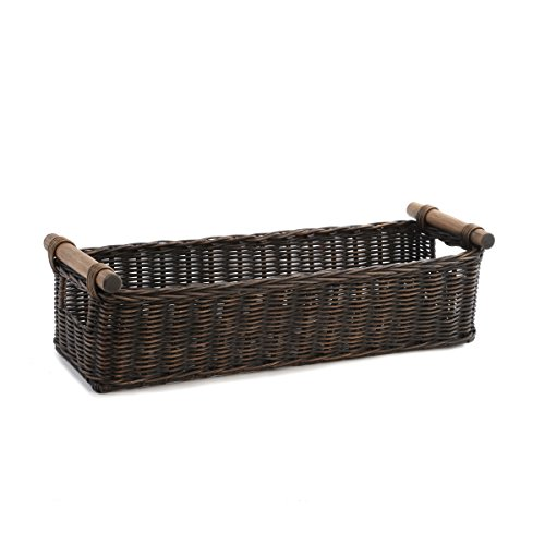 The Basket Lady Long Narrow Pole Handle Wicker Basket, Small, Antique Walnut Brown