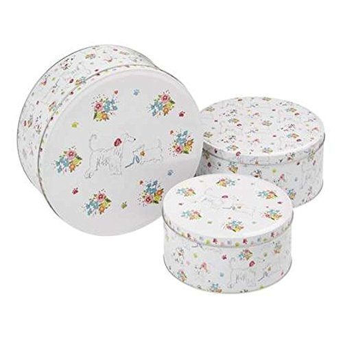 Cooksmart Dapper Dogs Design Kitchen Cupcake Cup Cake Cookie Biscuit Storage Tin Gift Box (Set of 3 Sizes) e2e