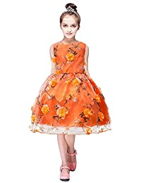 Girls Flower Princess Floral Dress Party Wedding Bridesmaid Pageant Formal Gown