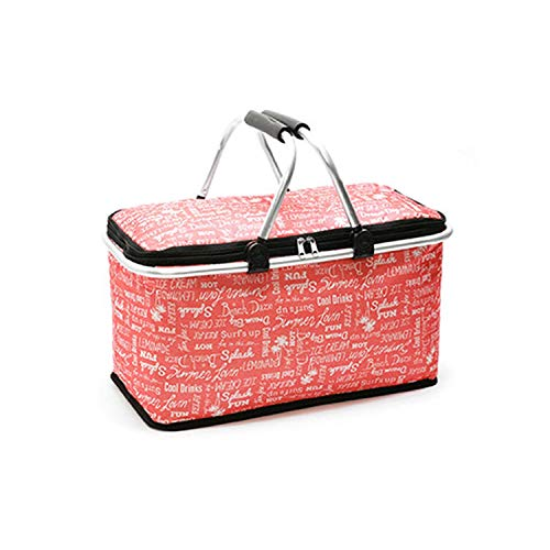 Large Capacity 29L Portable Picnic Basket Food Fresh Lunch Basket Outdoor Dinner Shopping Basket,Red English Letters ()