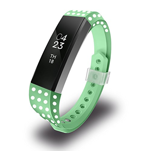 Greeninsync Compatible Fitbit Alta Bands, Soft Accessory Replacement Wristband with Metal Clasp and Ultrathin Fastener for Fitbit Alta Strap Large, Polk Dot(Green)