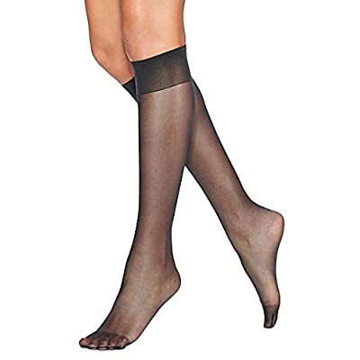 Hanes Silk Reflections Women's Knee High Reinforce Toe 2 Pack, Barely Black, One Size at Women's Clothing store: Knee High Stockings