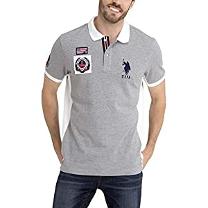 U.S. Polo Assn. Mens USA Solid Pique Polo Shirt with Big Pony and Patches