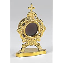 Personal Reliquary with Round Case 3 1/2 Inch Brass Relic Container