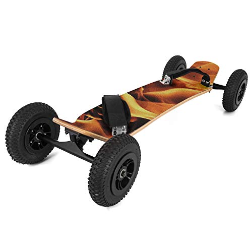 "Happybuy MountainBoard 39"" All-Terrain Skateboard Longboard Off Road Skateboard with Bindings for Cruising, Free-Style, Downhill and Dancing (Flame)"