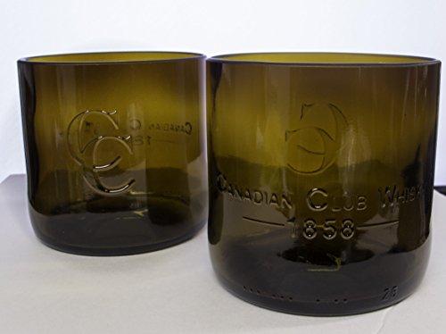 Handmade Canadian Club Whiskey Bottle Upcycled Old Fashioned Glass Set
