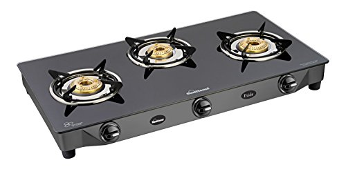 Sunflame Pride Glass Top 3 Burner Gas Stove (Black)