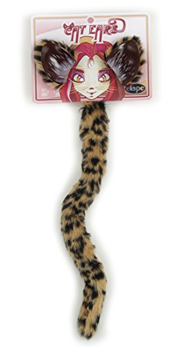 Elope Cheetah Cat Costume Headband Ears and Tail for Women