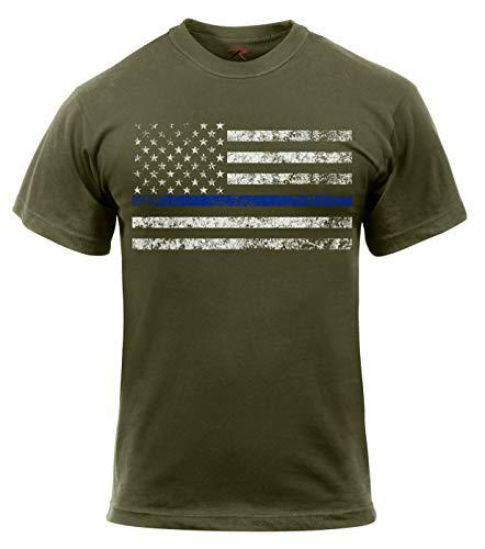 Rothco Thin Blue Line T-Shirt, Olive Drab, L