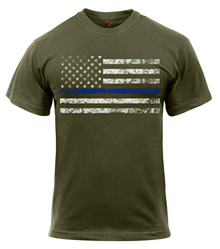 T-shirt Green Olive Drab (Rothco Thin Blue Line T-Shirt, Olive Drab, L)