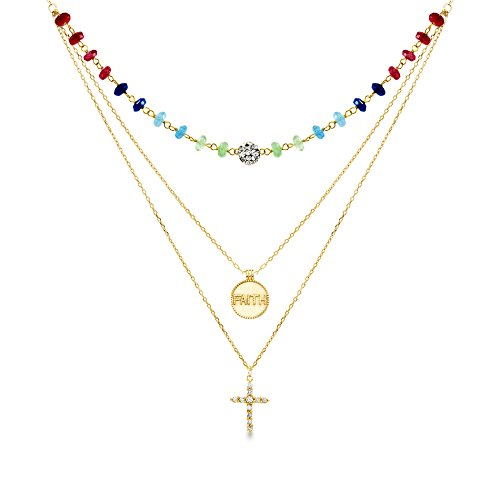 WILLOWBIRD Cubic Zirconia Cross/Faith Disc/Multi Color Stone Layered Necklace for Women in Yellow Gold Plated 925 Sterling Silver ()