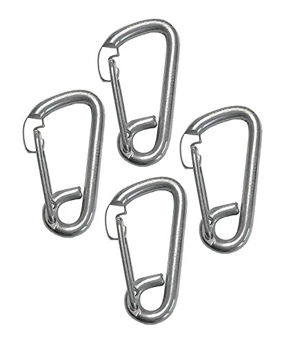 4 Pieces Stainless Steel 316 Spring Hook Carabiner 1/4