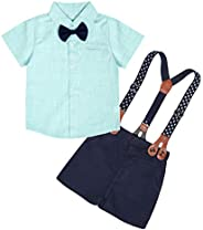 Edjude Baby Boys Gentleman Formal Outfits Set Infant Romper with Tie and Overalls Bib Pants Wedding Tuxedo Out