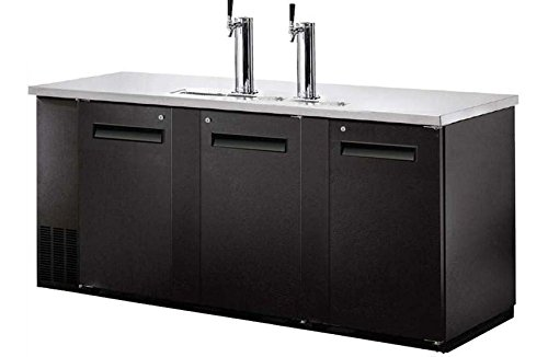 UDD-24-72 Black Kegerator / Beer Dispenser with 2 Tap Towers - (3) 1/2 Keg Capacity