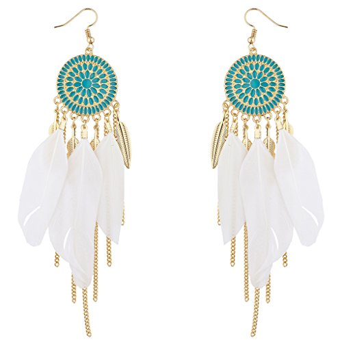 Dreamcatcher Feather Earrings (Lux Accessories Gold Tone Turquoise Enamel White Feather Dreamcatcher Earrings)