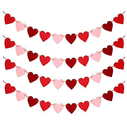 Directtyteam Valentines Day Decoration- 90.6 Inches Valentines Day Decor Heart Banner Pink, NO DIY Required - Valentines Heart Garland Banner for Anniversary Wedding Party Supplies Decorations