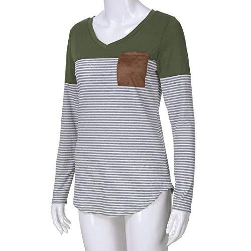 Zhrui longue rond en Vert pour couleur vert Cn femmes manche taille 8 col à v Luk manches rayures shirt longues col T rqPYIr