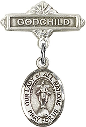 Sterling Silver Baby Badge Godchild Bar Pin with Our Lady of All Nations Charm, 11/16 Inch