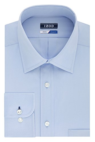 IZOD Men's Regular Fit Stretch Solid Spread Collar Dress Shirt, Water Mill, 17-17.5