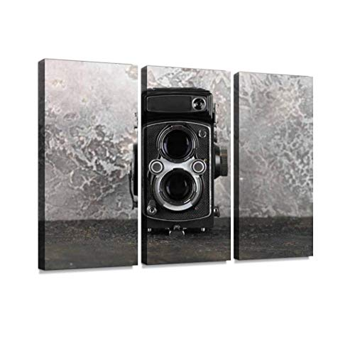 The Old Medium Format Film TLR Camera on Cement Background. Print On Canvas Wall Artwork Modern Photography Home Decor Unique Pattern Stretched and Framed 3 Piece