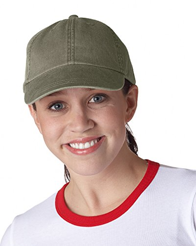 Adams 6-Panel Pigment-Dyed Classic Cap, Olive, One (Olive Baseball Hat)