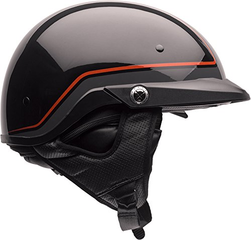 Bell Pit Boss Open-Face Motorcycle Helmet (Pinstripe Orange/Black, ()
