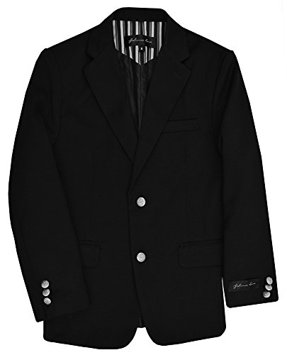 Johnnie Lene Dress Up Boys' Black Blazer Jacket #JL30 (12, Black) by Johnnie Lene