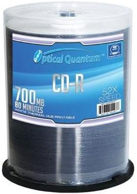 100パック光学Quantum 80分700 MB 52 x CD - R AZOホワイトThermalハブ印刷可能( MPN : oqcd52wtp-azo )