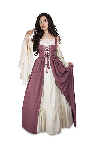 Renaissance Medieval Irish Costume Over Dress & Cream Chemise Set (S/M, Rose)