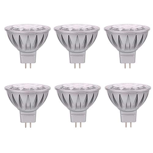 (ALIDE MR16 Led Bulbs GU5.3 12V 7W,Replace 50W Halogen Equivalent,6000K Daylight Cool Bright White Bulb Spotlight for Kitchen Home Track Ceil Recessed Accent Lighting,Not Dimmable,560lm,38 Deg,6 Pack )