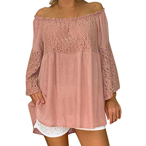 Tantisy ♣↭♣ Women's Plus Size Off Shoulder Shirts Lace Long Sleeve Loose Flowy Blouse Ladies Linen Tops Pink