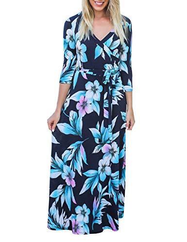 DUNEA Women's Deep V-Neck 3/4 Sleeve Floral Print Faux Wrap Long Maxi Dress with Belt (Blue1, Medium)