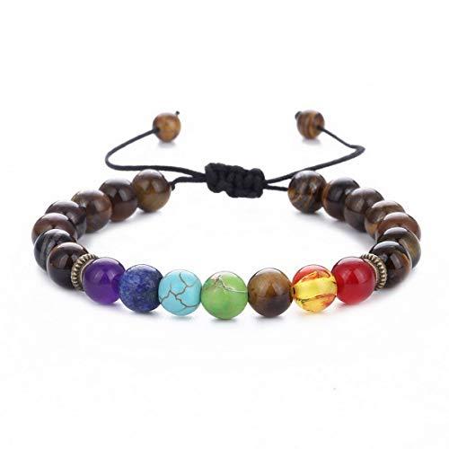 Mens Women 7 Chakra Stone Beads Bracelet Natural Stone Yoga Bangle Tiger Eye - Stone Bangle Eye