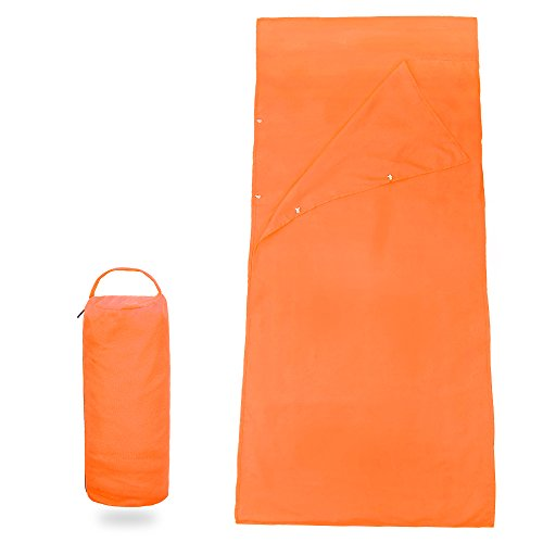 Forbidden Road Sleeping Bag Liner Sleep Sheet Sleep Sack Camping Travel Liner with Pillow Cover Cotton Soft Healthy Clean Extreme Roomy - 2 Sizes 4 Colors (Orange, Medium)