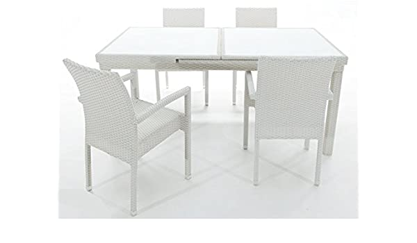 Conjunto rattan blanco Artic mesa extensible 6 sillas: Amazon.es: Jardín
