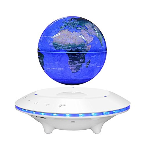 Price comparison product image LUOER Maglev Levitating Floating BT Speaker Globe Shape Wireless Lamp Adjustment Home Decor, White, 6Inch