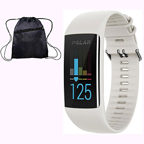 Polar A370 Waterproof GPS Fitness Tracker with Wrist Based HR - White / Small w/ Cinch Travel Bag by Polar
