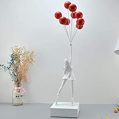 Amazon Com Banksy Flying Balloons Girl Art Sculpture Resin Craft Home Decoration Home Kitchen