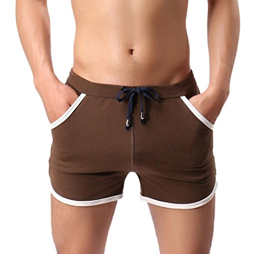 Hot Sale! ❤️ Men Shorts Pants, Neartime Fashion Cotton Gym Sport Jogging Trousers Casual Fitness Beach Pants Swimming Trunks Spa Shorts (❤️AsianL, Brown)