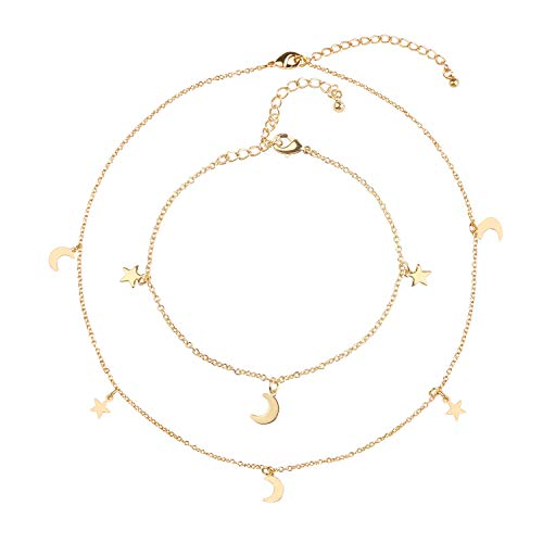 Blinkingstare Star Moon Charm Choker Necklace - 14K Gold Plating Simple Delicate Chain Choker Necklace and Bracelet for Women Girls